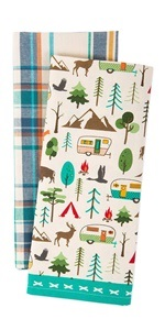 Set of dishtowels with a plaid design and an outdoor and camping theme design.