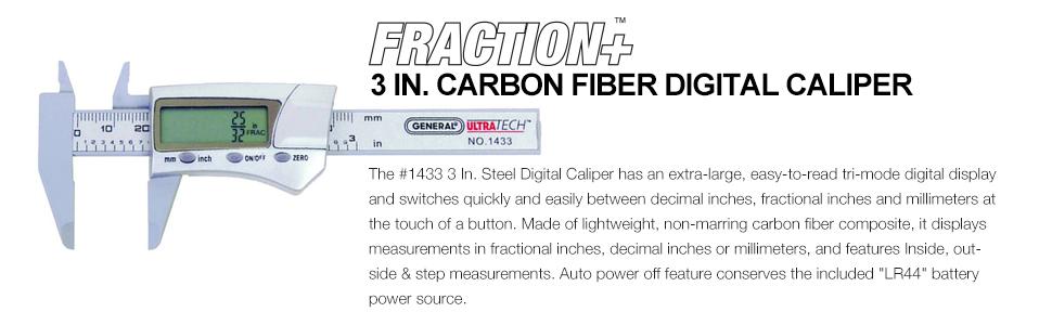 General Tools 1433 Fraction Plus Digital Fractional Caliper, Carbon Fiber,  3-Inch