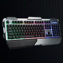 Woxter Stinger GX 300 K - Teclado Gaming Robusto (retroiluminado, Base metálica y diseño Semi-mecánico, Compatible con PC/PS4)