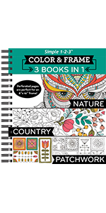 nature country patchwork pattern coloring book for adults grown up senior teens