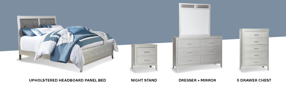 dresser mirror chest 5 drawers panel bed sleek metal glam silver bedroom nightstand night stand