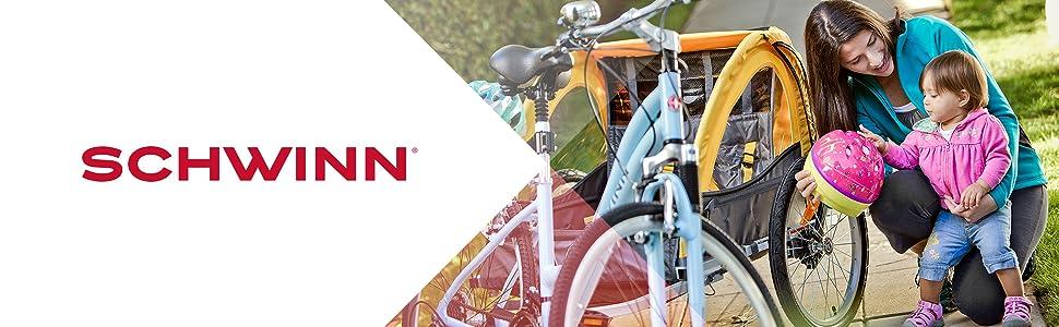 schwinn, trailer, child carrier, tow behind trailer, child seat for bike, bike child seat