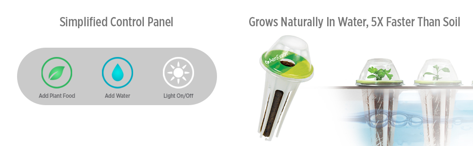 Simplified Control Panel, Grows Naturally in Water, 5X Faster Than Soil