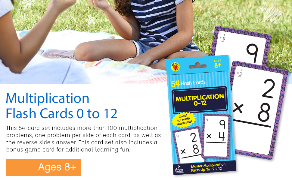 Image of our multiplication flash cards and the packaging