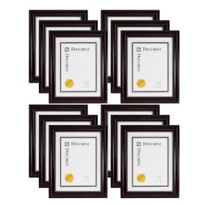 Kiera Grace Lucy Document Frame Dark Brown with Gold Dots 11 by 14-Inch Matted for 8.5 by 11-Inch Pack of 8