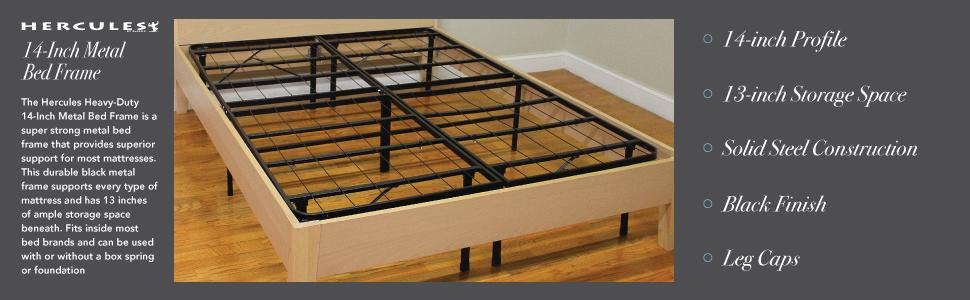 Hercules Heavy-Duty 14-Inch Platform Metal Bed Frame,Mattress Foundation, Twin, Full, Queen, King