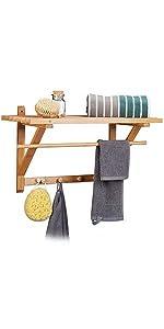 natur 10 x 50 x 9 cm Wandhandtuchhalter 6 Haken Holz Badetuchhalter Hakenleiste Relaxdays Handtuchhalter Bambus HxBxT