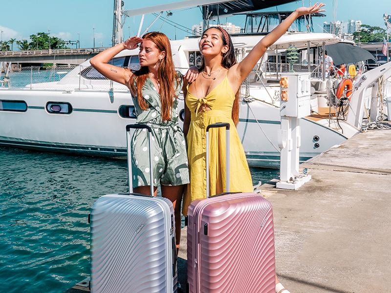 Jetglam American Tourister Metallic Silver & Metallic Pink