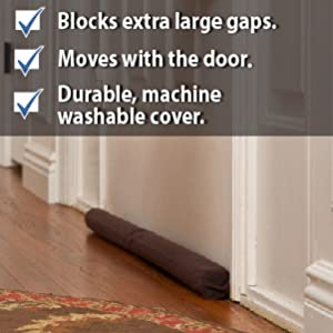 Brown Twin Draft Guard on interior door. Shown near rug, white walls and brown wooden floors.