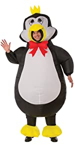 funny penguin costume, penguin with a bow tie