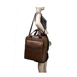 Cognac 15quot; Leather Vertical Patented Detachable -Wheeled Laptop Briefcase on mannequin's shoulder