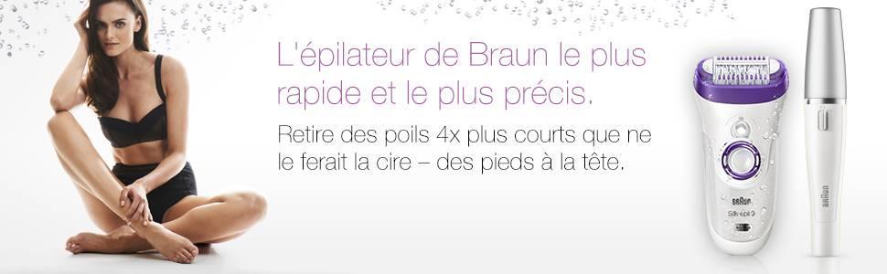 Épilateur Braun Silk-épil 9-558 Wet & Dry avec 5 accessoires incluant un épilateur pour le visage