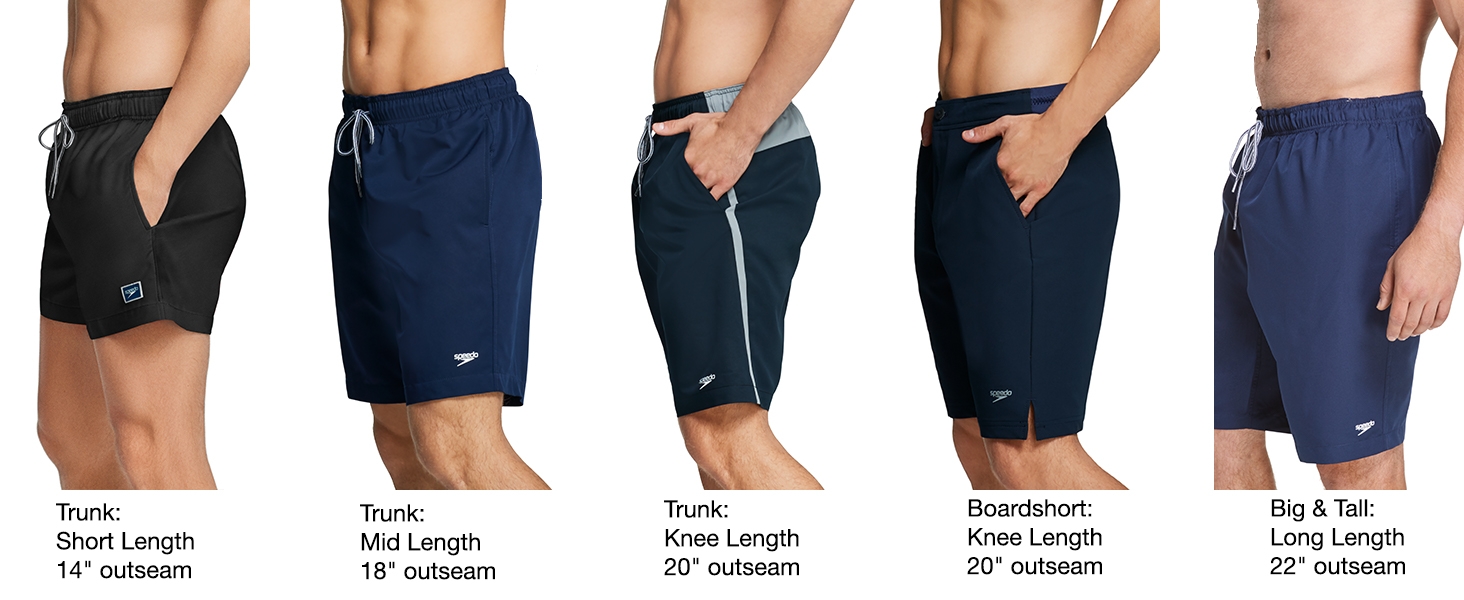 speedo men's swim trunk swimsuit length comparison