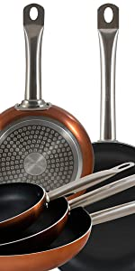 San Ignacio Professional Chef Copper Cocina, Set 3 sartenes + 4 Cuchillos + 3 Utensilios