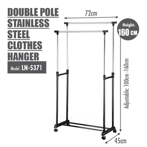 HOUZE - DOUBLE POLE STAINLESS STEEL CLOTHES HANGER