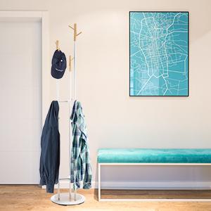 Relaxdays Perchero Pie con 9 Colgadores, Madera y Metal, Blanco, 178 x 36,5 cm