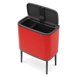 Brabantia Bo Touch Bin, con dos cubos interiores, 11 + 23 litros - Passion Red