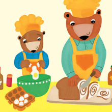 Two Bears Baking Bread