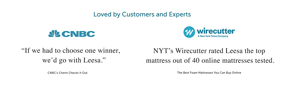 Leesa mattresses expert validation by CNBC and Wirecutter