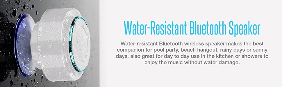water resistant bluetooth speaker companion pool party beach hangout sunny rainy days kitchen shower