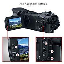 Cinco botones asignables, joystick, anillo de lente y dial personalizado para control creativo