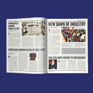 newspaper clippings indistry page book open spread historical moments