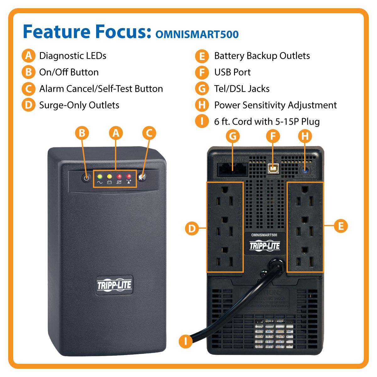 Amazon Com Tripp Lite Omnismart 500va 300w Line