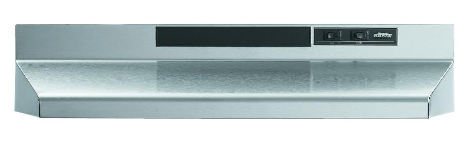 Black Broan F402423 Two-Speed Four-Way Convertible Range Hood 24-Inch