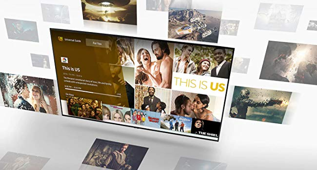 QLED TV with Universal Guide on screen