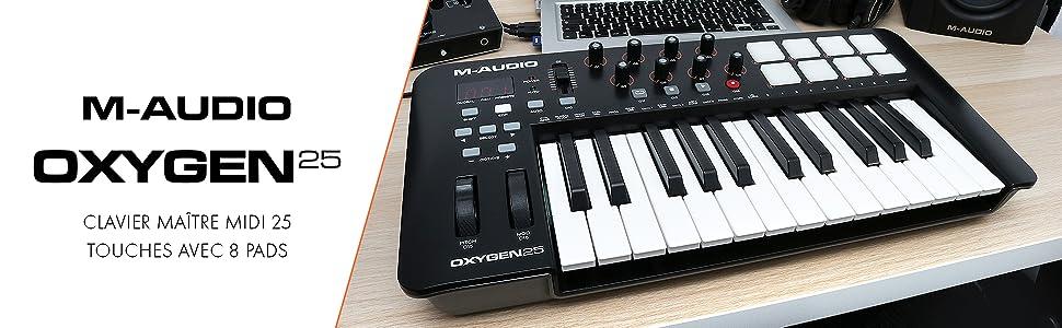 M-Audio Oxygen 25 IV Clavier Maître Midi 25 Touches avec 8 Pads Sensibles à la Vélocité et Boutons de Contrôles Assignables avec VIP 3 et Pack de Logiciels Inclus Noir