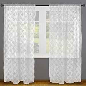 Amazon.com: DII Sheer Lace Decorative Curtain Panels For Bedroom ...