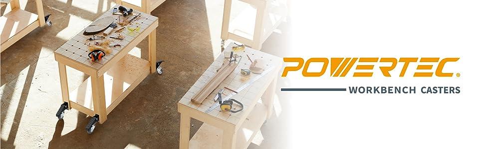 lot de 4 Powertec 17000//Établi Caster Kit