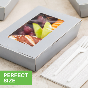 These paper lunch boxes with windows are available in a variety of sizes and designs.