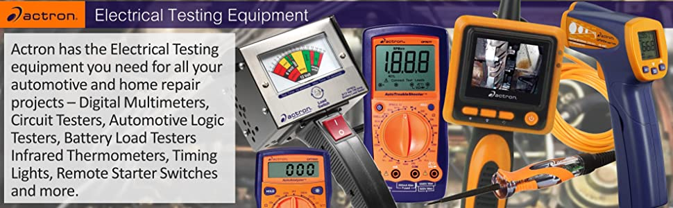 Actron Digital Multimeters circuit testers logic battery load infrared thermometers timing lights