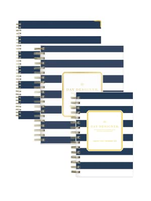 day designer for blue sky, navy stripe collection, 2019 planner, 5x8, 8x10, hardcover,flexible cover