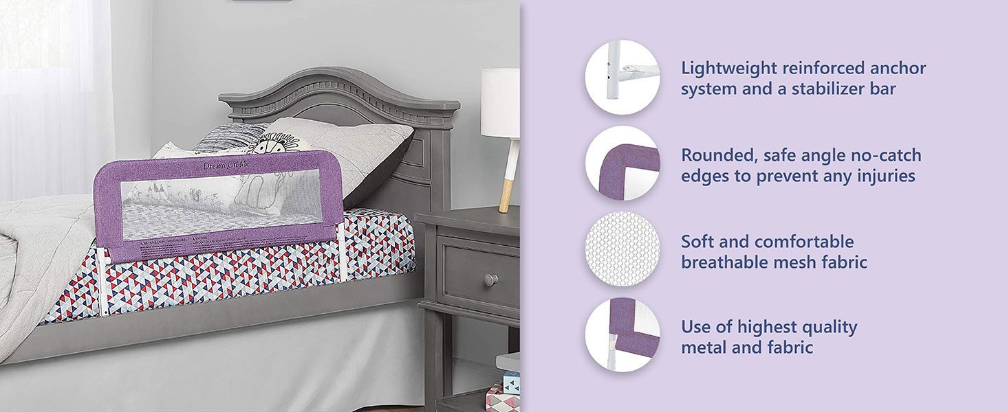 lightweight bed rail, baby crib bed rail,soft bed rail, breathable mesh fabric bed rail,rounded rail