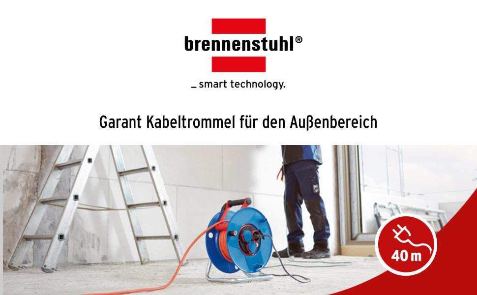 Brennenstuhl Garant Ip44 Kabeltrommel 40m Kabel In Orange Spezialkunststoff Einsatz Im Außenbereich Made In Germany Baumarkt