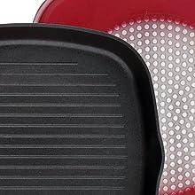 BERGNER - Sartén Grill - Dimensiones: 28x28x4.5 cm - Material: Aluminio Forjado - Apto para Inducción