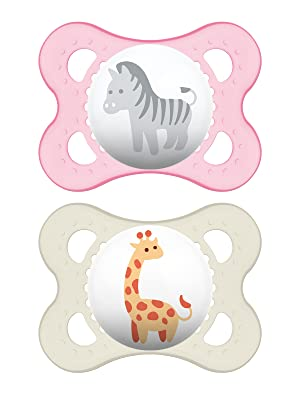 MAM Pacifiers, Baby Pacifier 0-6 Months, Best Pacifier for Breastfed Babies, Animal Design Collection, Girl, 2-Count