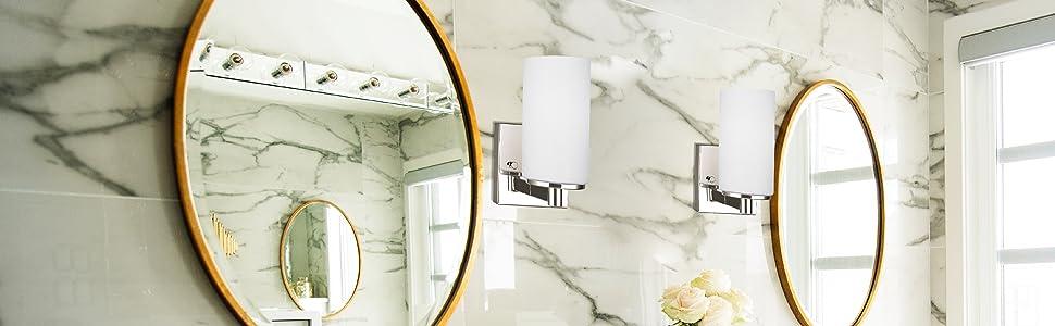 Sea Gull Lighting Hettinger One Light Wall / Bath Sconce Vanity Style Lights, Brushed Nickel Finish