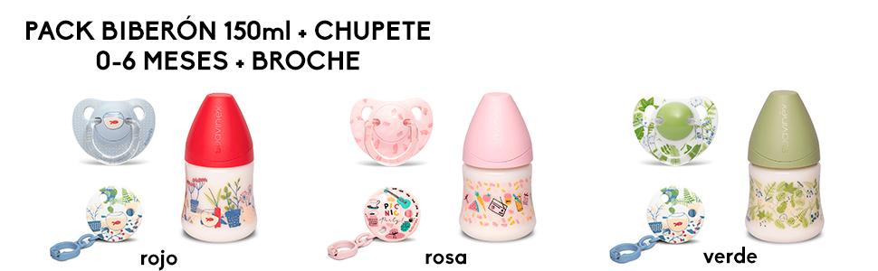 Suavinex, Set Recién Nacido con Biberón 150ml, Chupete con Tetina ...