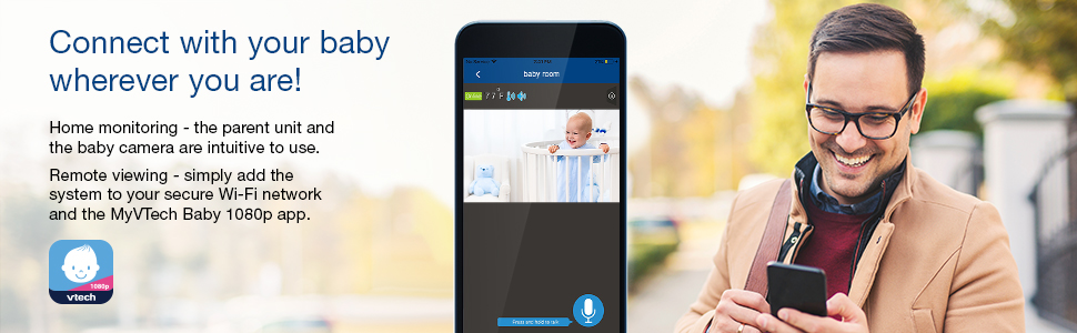 Connect with your baby whereever you are home monitoring and remote viewing with MyVTech baby 1080p