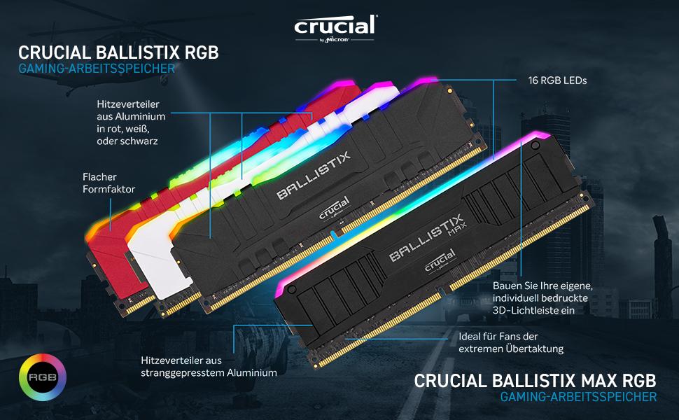Crucial Ballistix Bl2k16g32c16u4bl Rgb 3200 Mhz Ddr4 Computer Zubehör