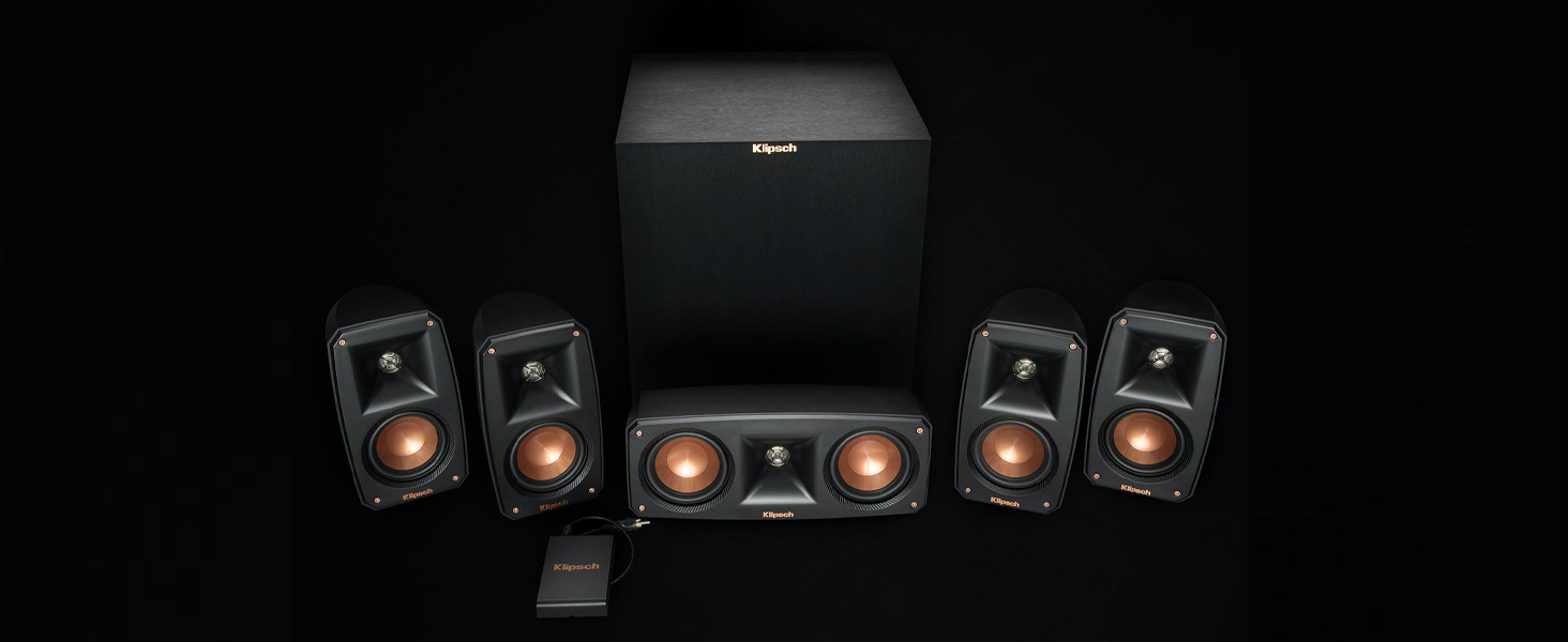 Klipsch Reference Theater Pack home theater system on black background