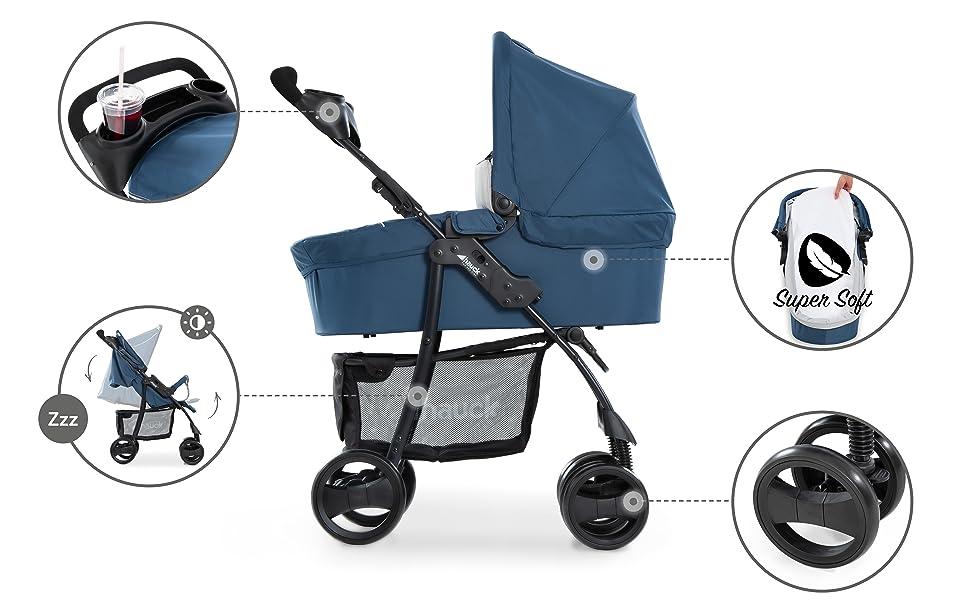 poussette pour enfants avec porte gobelet de la naissance à 4 ans dossier régbale canopy pare-soleil