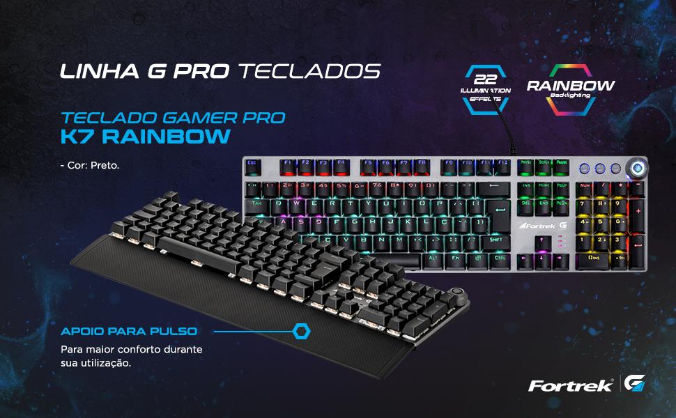 Teclado Mecânico Gamer K7 Rainbow apoio para pulso switch 22 iluminações