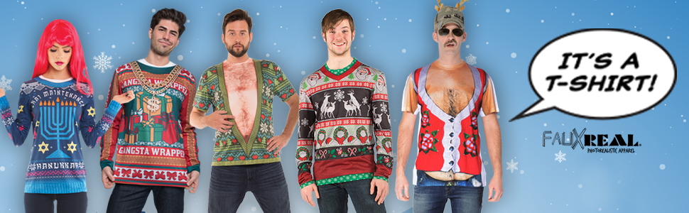 330f2a1044dc0 Amazon.com  Faux Real Men s Sublimated Faux Christmas with Tattoo ...