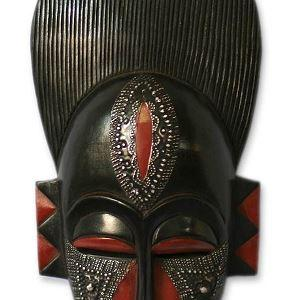 Novica Black And Red Handcrafted Ghanaian Wood Wall Mask In Silence Home Kitchen Amazon Com