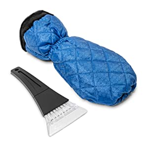 ice scraper winter snow brush insulated glove warm hands removing ice frost snow snowy winter