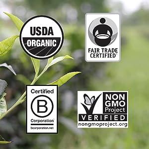 usda certified organic fair trade certified non gmo b corporation halal kosher